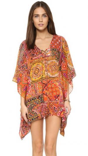 Кружевное пляжное платье Mirrorwork Bindya. Цвет: мульти