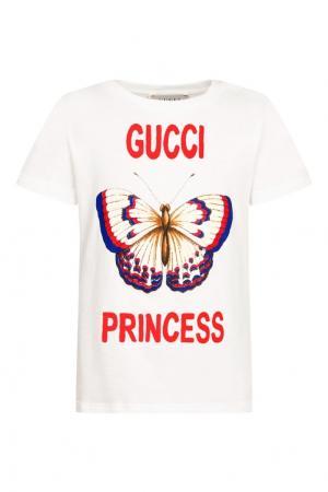 Белая футболка с принтом в виде бабочки Gucci Children. Цвет: белый