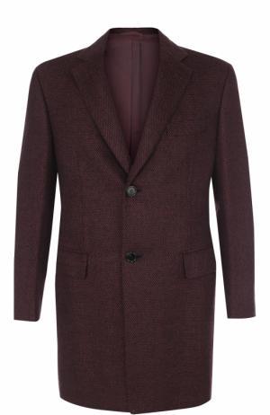 Однобортное пальто из смеси шерсти и кашемира Brioni. Цвет: бордовый