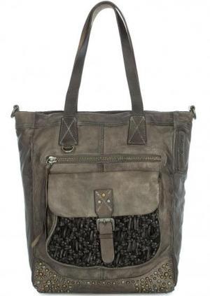 Вместительная сумка из натуральной кожи Taschendieb. Цвет: серый