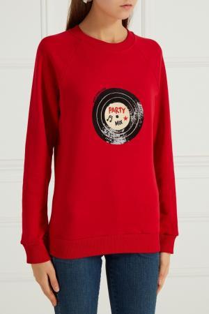 Красный свитшот с вышивкой Girls In Bloom. Цвет: красный