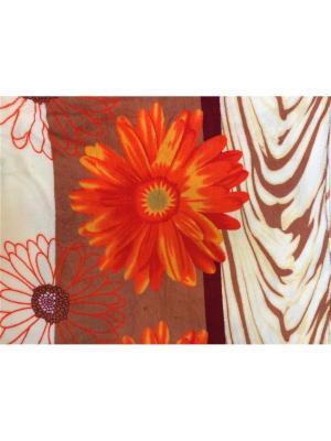 Плед велсофт 170*210 Dream time. Цвет: оранжевый, белый, светло-коричневый