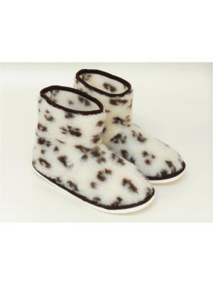Туфли комнатные - угги Тефия. Цвет: молочный, темно-коричневый, коричневый