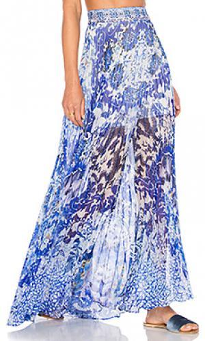 Длинная плиссированная юбка Camilla. Цвет: синий