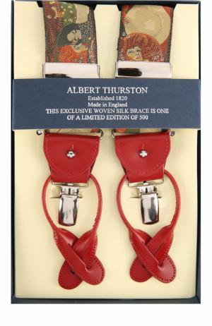 Подтяжки с отделкой из натуральной кожи Albert Thurston. Цвет: разноцветный