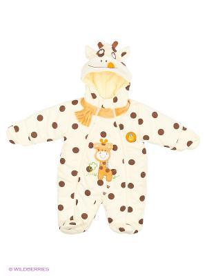 Комбинезон утеплённый Kidly. Цвет: коричневый, кремовый, оранжевый
