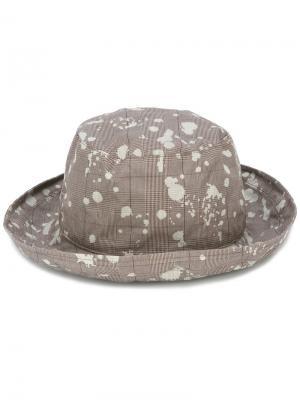 Шляпа с брызгами краски Kijima Takayuki. Цвет: серый