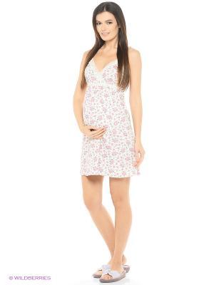 Ночная сорочка для беременных и кормящих ФЭСТ. Цвет: молочный, розовый