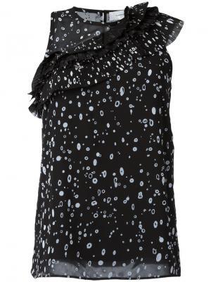 Блузка с диагональной плиссировкой Carven. Цвет: чёрный