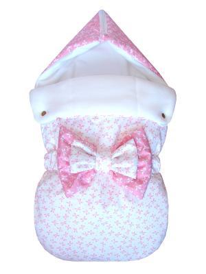 Конверт на выписку JustCute Джульетта White (весна) СуперМаМкет. Цвет: розовый, белый