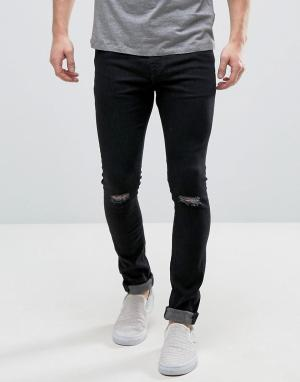 Hoxton Denim Черные джинсы суперскинни с рваными коленями. Цвет: черный