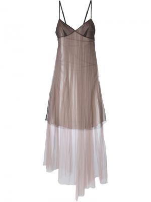 Платье со вставкой из тюля Quetsche. Цвет: чёрный