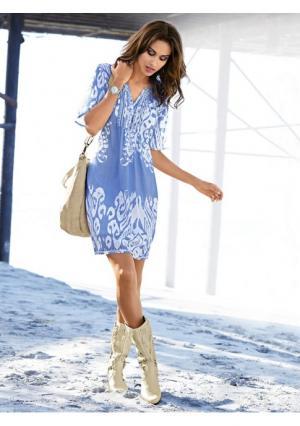 Платье Rick Cardona. Цвет: голубой/белый, песочный/белый