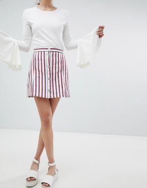 Monki Белая мини-юбка в полоску. Цвет: мульти