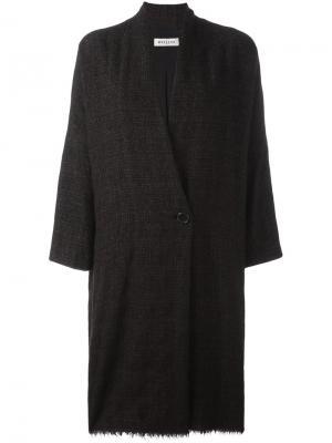 Пальто с необработанным подолом Masscob. Цвет: коричневый
