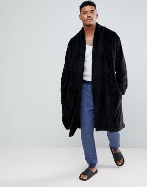 ASOS Свободный флисовый халат. Цвет: черный