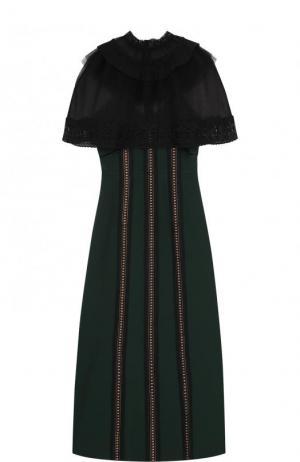 Приталенное платье-миди с прозрачным кружевным лифом self-portrait. Цвет: зеленый