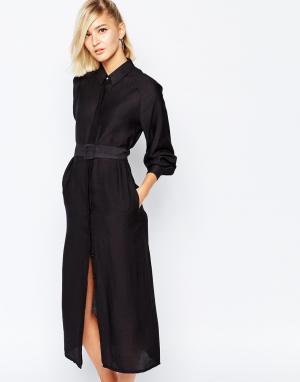 The Laden Showroom Цельнокройное платье-макси с поясом X Meekat. Цвет: черный