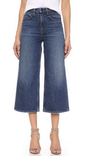 Широкие джинсы Drill с высокой посадкой Denim x Alexander Wang. Цвет: состаренный индиго средней насыщенности