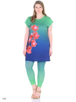 Костюм, модель Орхидея (туника+капри) Dorothy's Home. Цвет: зеленый