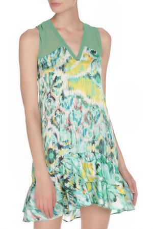 Легкое платье с цветочным принтом Toy G.. Цвет: салатовый