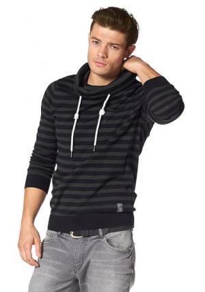 Пуловер JOHN DEVIN. Цвет: черный/серый/в полоску