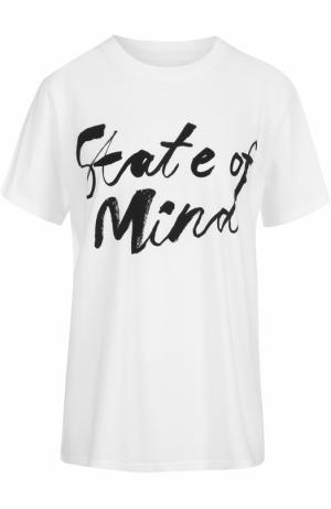 Хлопковая футболка прямого кроя с контрастной надписью 5PREVIEW. Цвет: белый