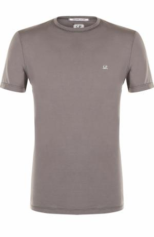 Хлопковая футболка с круглым вырезом C.P. Company. Цвет: серый
