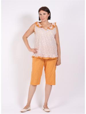 Пижама COTTONLAB. Цвет: горчичный, белый