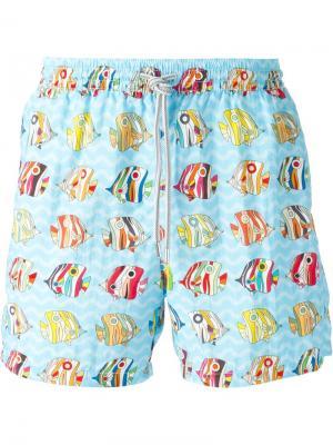 Плавательные шорты с принтом в рыбы Capricode. Цвет: синий