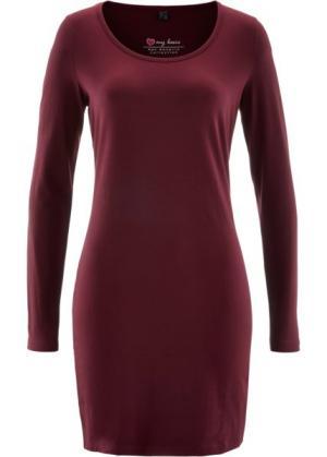 Трикотажное платье стретч с длинным рукавом (кленово-красный) bonprix. Цвет: кленово-красный