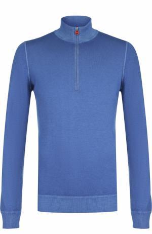 Кашемировый свитер с воротником на молнии Kiton. Цвет: голубой