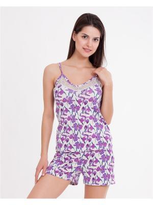 Пижама: топ, шорты Mark Formelle. Цвет: сиреневый, светло-серый, розовый