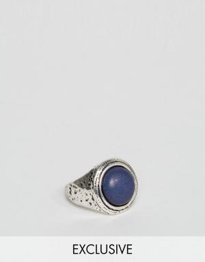 DesignB London Серебристое кольцо с крупным синим камнем эксклюзивно для ASOS. Цвет: серебряный