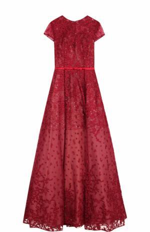 Приталенное платье-макси с коротким рукавом и вышивкой Basix Black Label. Цвет: бордовый