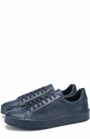 Кожаные кеды на шнуровке Jil Sander. Цвет: темно-синий