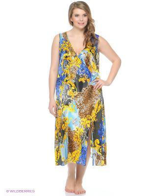 Ночная сорочка Del Fiore. Цвет: бордовый, голубой, золотистый, черный