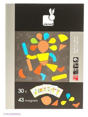 Магнитная книга-игра Мозаика в геометрии (43 магнита, 30 карточек) Janod. Цвет: черный
