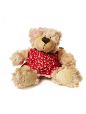 Мягкая Игрушка Мишка Миа в Платье Сидит, 19 см MAXITOYS. Цвет: светло-коричневый