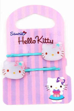 Заколка-невидимка Hello Kitty. Цвет: бирюзовый