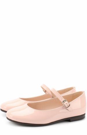 Лаковые туфли с ремешком Il Gufo. Цвет: розовый