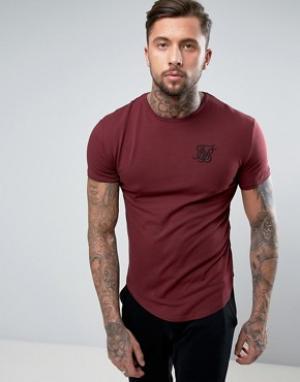 SikSilk Бордовая обтягивающая футболка. Цвет: красный