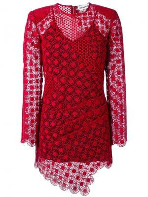 Прозрачное асимметричное платье Self-Portrait. Цвет: красный