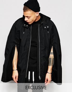 Black Eye Rags Куртка с отстегивающимся капюшоном. Цвет: черный