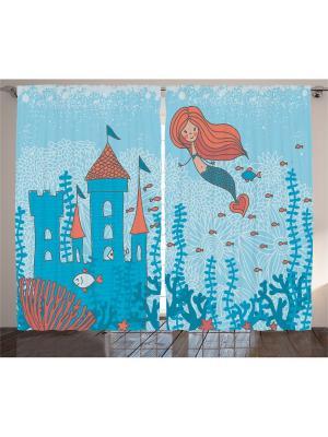 Комплект фотоштор из полиэстера высокой плотности Маленькая русалочка, 290*265 см Magic Lady. Цвет: голубой, бирюзовый, оранжевый