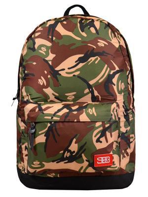 Рюкзак Street Bags. Цвет: зеленый, бежевый, коричневый