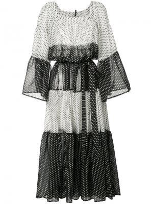 Платье с панельным дизайном в полоску Lisa Marie Fernandez. Цвет: белый