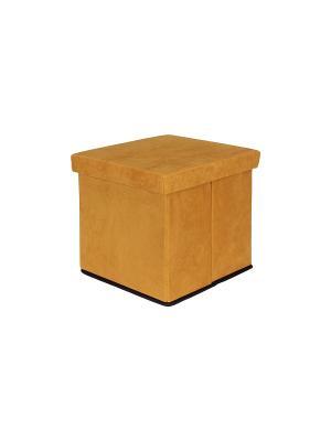 Пуф складной с ящиком для хранения Горчичный EL CASA. Цвет: горчичный
