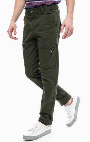Хлопковые брюки цвета хаки с карманами s.Oliver. Цвет: хаки