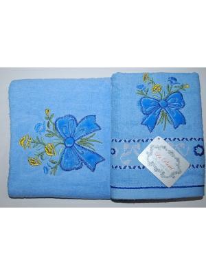 Комплект полотенец 2пр Бантики (50х90,70х140) La Pastel. Цвет: голубой